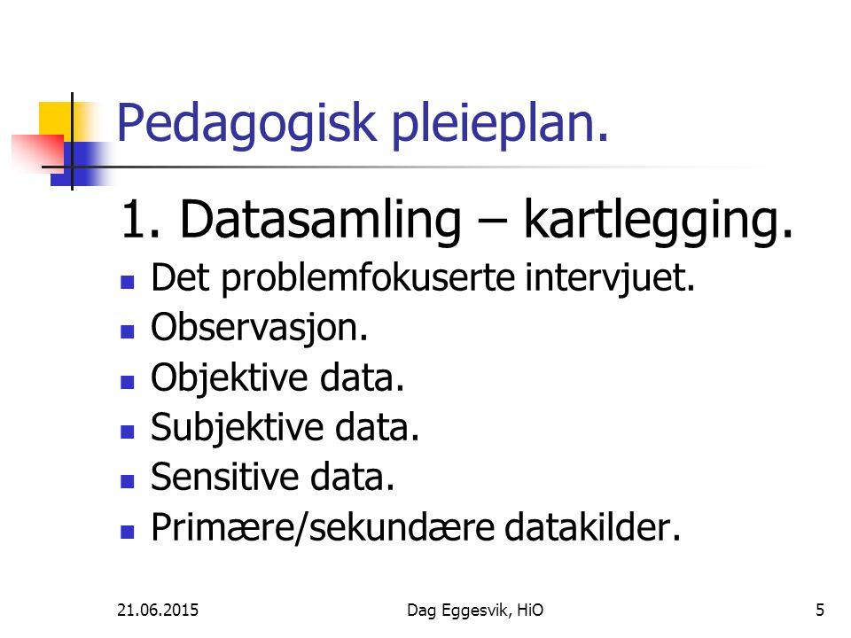 21.06.2015Dag Eggesvik, HiO6 Pedagogisk pleieplan.