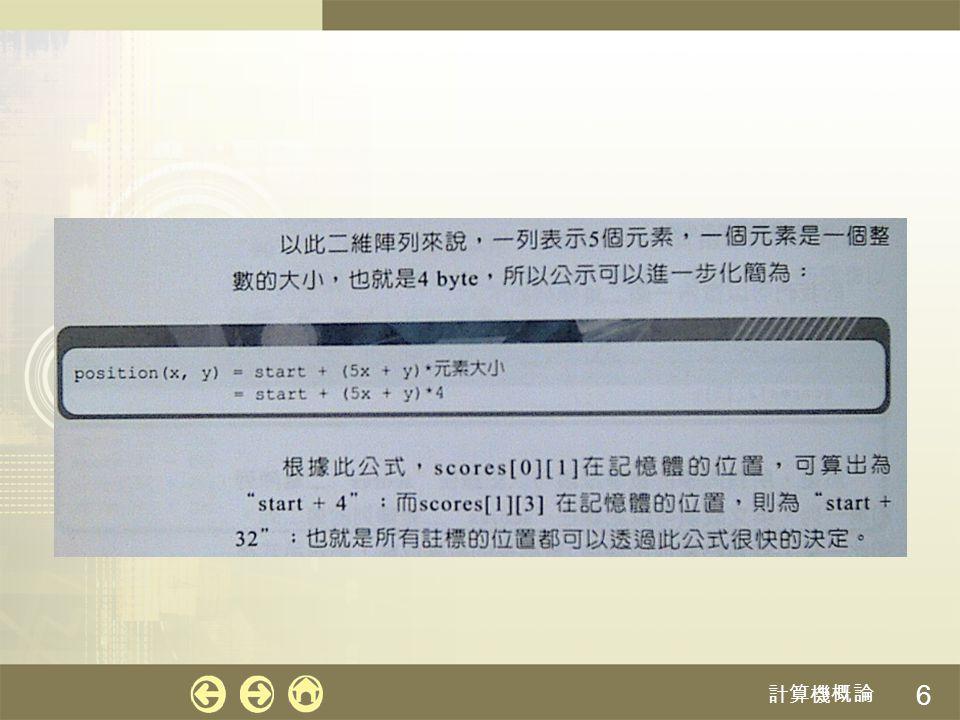 7 以欄為主:先存放好第一「欄」的元素,接著再 存放第二「欄 」,依此類推,其公式如下: