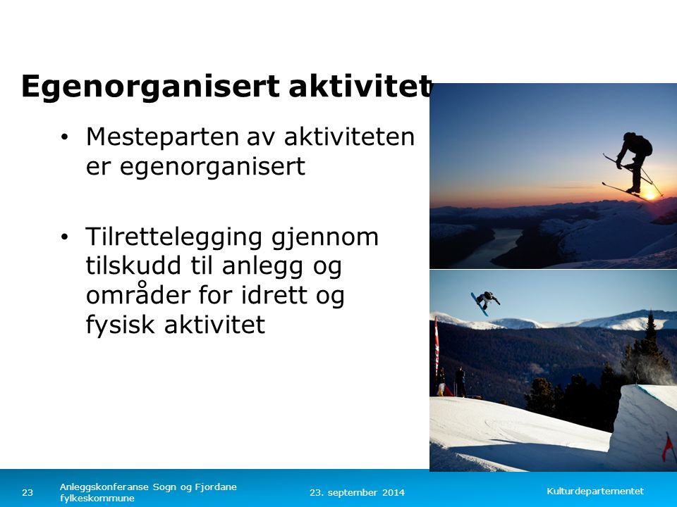 Kulturdepartementet Norsk mal: Tekst med kulepunkter – 4 vertikale bilder 23.