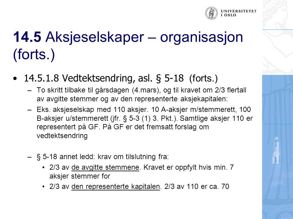 14.5 Aksjeselskaper – organisasjon (forts.) To avstemninger: 1.A- aksjene (10 stk) Hvis kravet om 2/3 flertall av de avgitte stemmene er oppfylt, blir det en avstemning til Hvis kravet ikke oppfylles, blir det ikke en avtemningsrunde til 2.A-/og B-aksjer (110 stk) Hvis kravet om 2/3 flertall av den representerte kapitalen er oppfylt, er vedtektsendringen vedtatt Regelen ivaretar hensynet til B- aksjeeierne: De vil ha en viss innflytelse i viktige saker A-aksjeeieren: De uten stemmerett skal ikke kunne gjennomføre vedtektsendringer uten tilslutning fra A- aksjeeierne