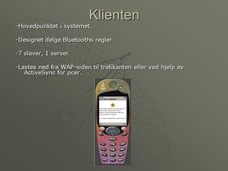 Hovedmeny -Brukeren starter programmet og bluetooth-systemet slås på automatisk -Mulighet til å velge mellom server eller klient siden prototypen skal testes for både klienten og for serveren