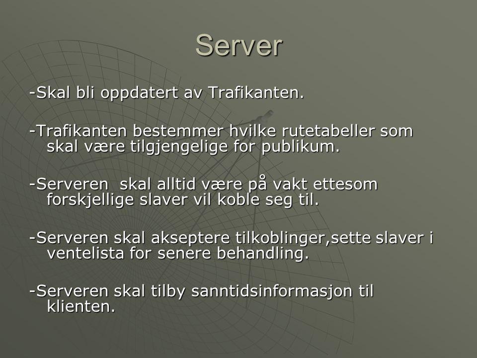 Server (2) -Vi antar at serveren inneholder rutetabellene og at alle ligger klare der.