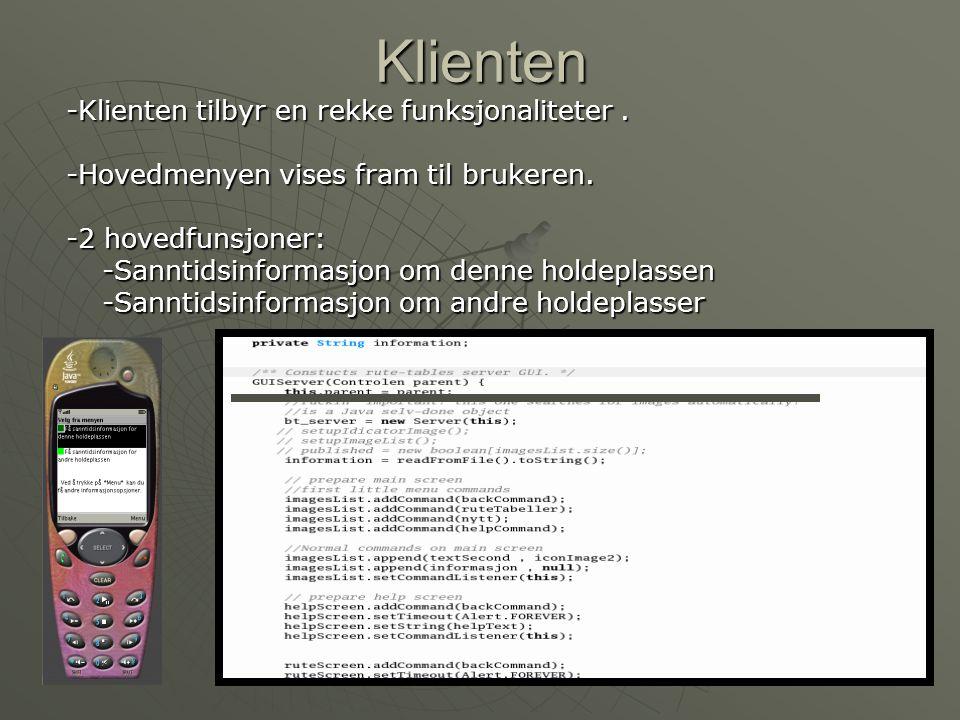 Klienten (2) - -Bluetooth prøver å sette i gang.-Viser mulige feil på toolkitens skjerm.