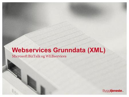 Webservices Grunndata (XML) Microsoft BizTalk og WEBservices.