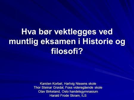 Muntlig Eksamen Historie Vg3