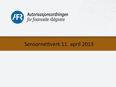 Sensornettverk 11. april 2013.