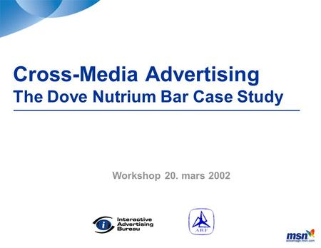 Cross-Media Advertising The Dove Nutrium Bar Case Study Workshop 20. mars 2002.