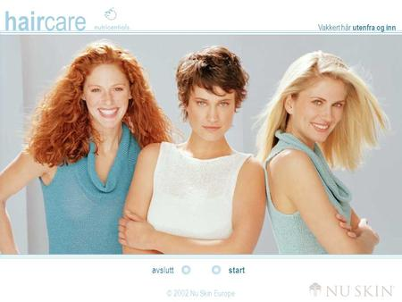 Hair care © 2002 Nu Skin Europe start avslutt Vakkert hår utenfra og inn.