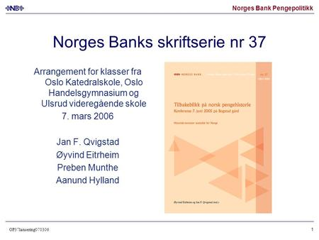 Norges Banks skriftserie nr 37
