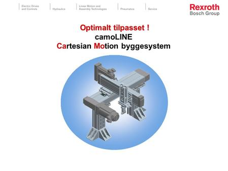 Optimalt tilpasset ! Optimalt tilpasset ! camoLINE Cartesian Motion byggesystem.
