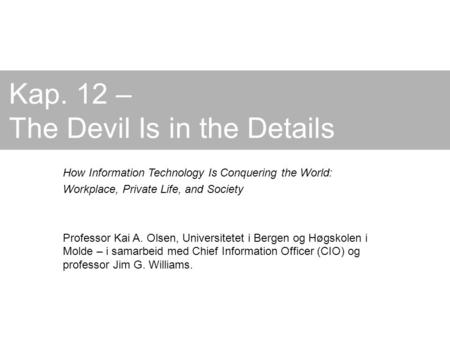 Kap. 12 – The Devil Is in the Details How Information Technology Is Conquering the World: Workplace, Private Life, and Society Professor Kai A. Olsen,