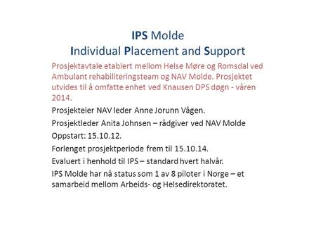 IPS Molde Individual Placement and Support