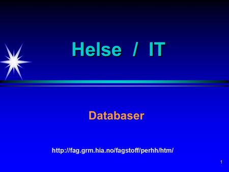 1 Helse / IT Databaser