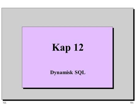 SQLHiA Kap 12 Dynamisk SQL. SQLHiA SQLHiA FlerbrukersystemClient / Server Database DBMS Application_2 SQL-Request Data Application_3 Application_1 ClientServer.