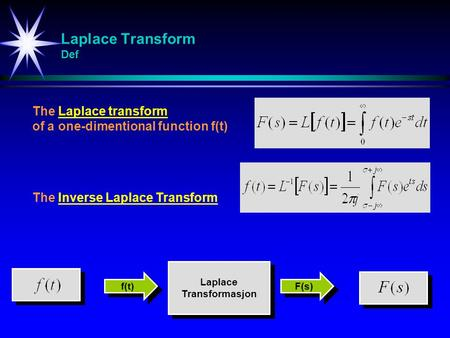 Laplace Transform Def The Laplace transform of a one-dimentional function f(t) The Inverse Laplace Transform Laplace Transformasjon Laplace Transformasjon.