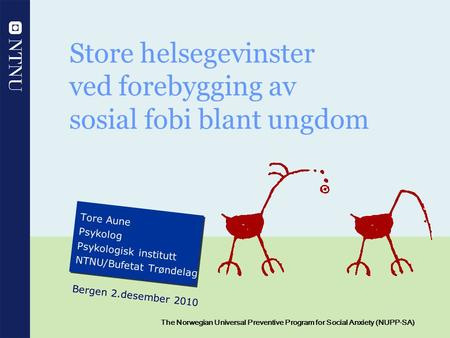 1 The Norwegian Universal Preventive Program for Social Anxiety (NUPP-SA) Store helsegevinster ved forebygging av sosial fobi blant ungdom Tore Aune Psykolog.