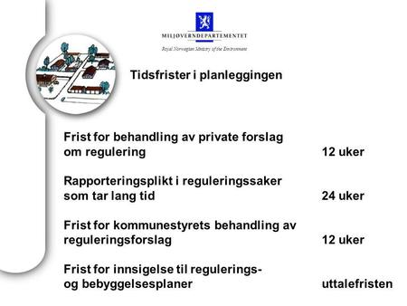 Royal Norwegian Ministry of the Environment Frist for behandling av private forslag om regulering12 uker Rapporteringsplikt i reguleringssaker som tar.
