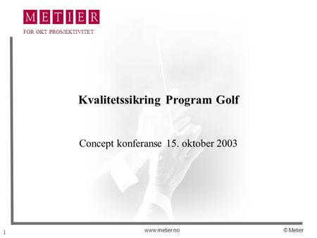 Kvalitetssikring Program Golf