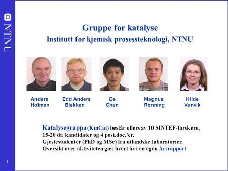 Gruppe for katalyse Institutt for kjemisk prosessteknologi, NTNU