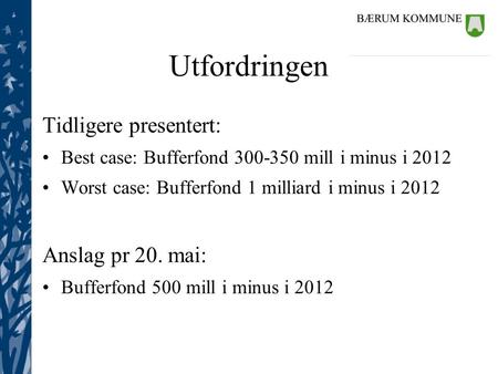 Utfordringen Tidligere presentert: Best case: Bufferfond 300-350 mill i minus i 2012 Worst case: Bufferfond 1 milliard i minus i 2012 Anslag pr 20. mai: