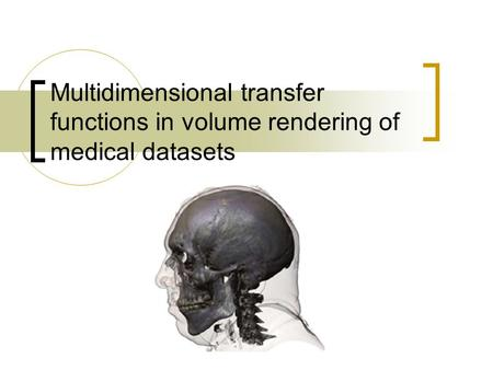 Multidimensional transfer functions in volume rendering of medical datasets.