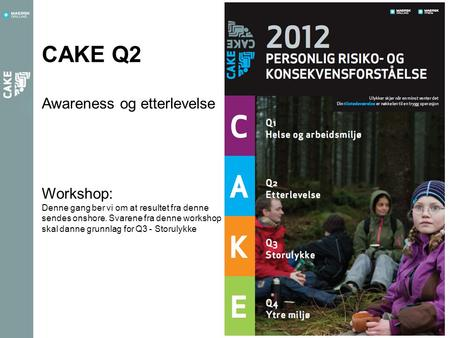 CAKE Q2 Awareness og etterlevelse Workshop: Denne gang ber vi om at resultet fra denne sendes onshore. Svarene fra denne workshop skal danne grunnlag for.