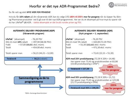 AUTOMATIC DELIVERY REWARDS (ADR) (Nytt program – 1. september) LifePak ® (eksempel) - 76,20 PSV 442,11 med 5% rabatt= 420,00 (72,39 PSV) Frakt= 51,30 (102,60)