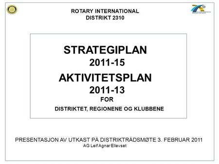 STRATEGIPLAN AKTIVITETSPLAN