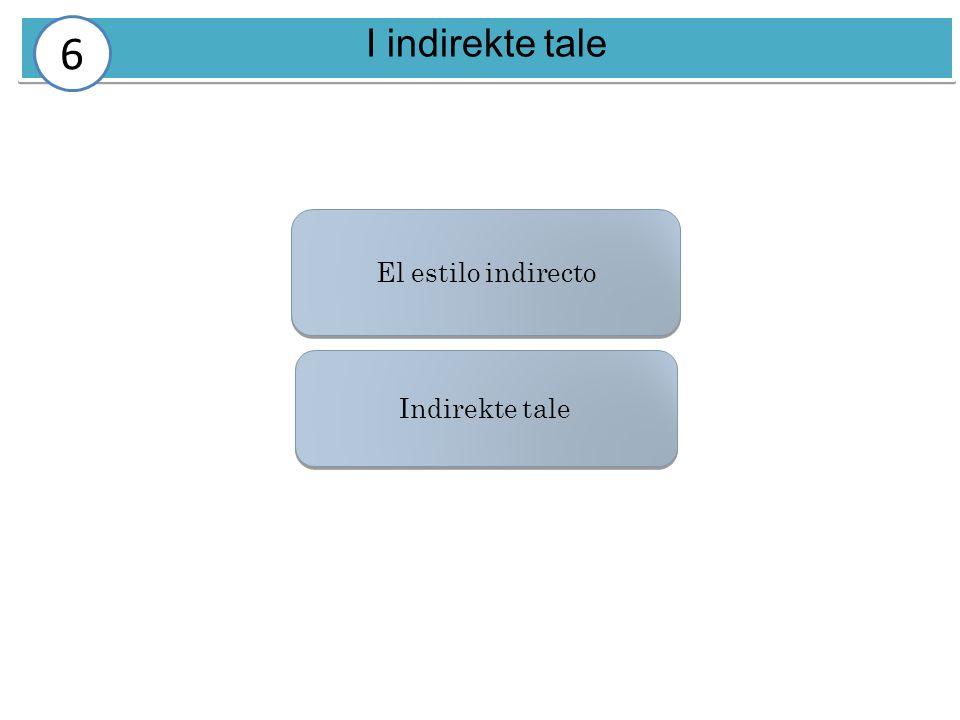I indirekte tale 6 El estilo indirecto Indirekte tale
