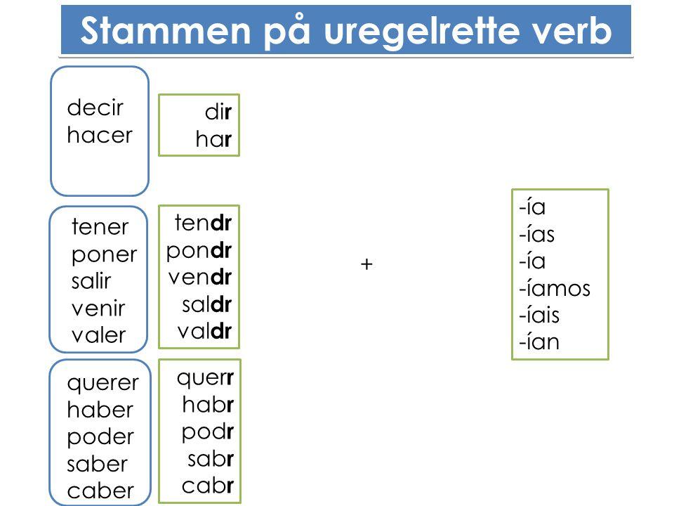 Stammen på uregelrette verb