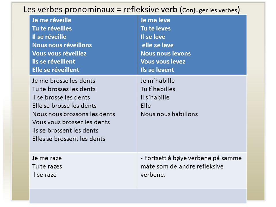 Les verbes pronominaux = refleksive verb (Conjuger les verbes)