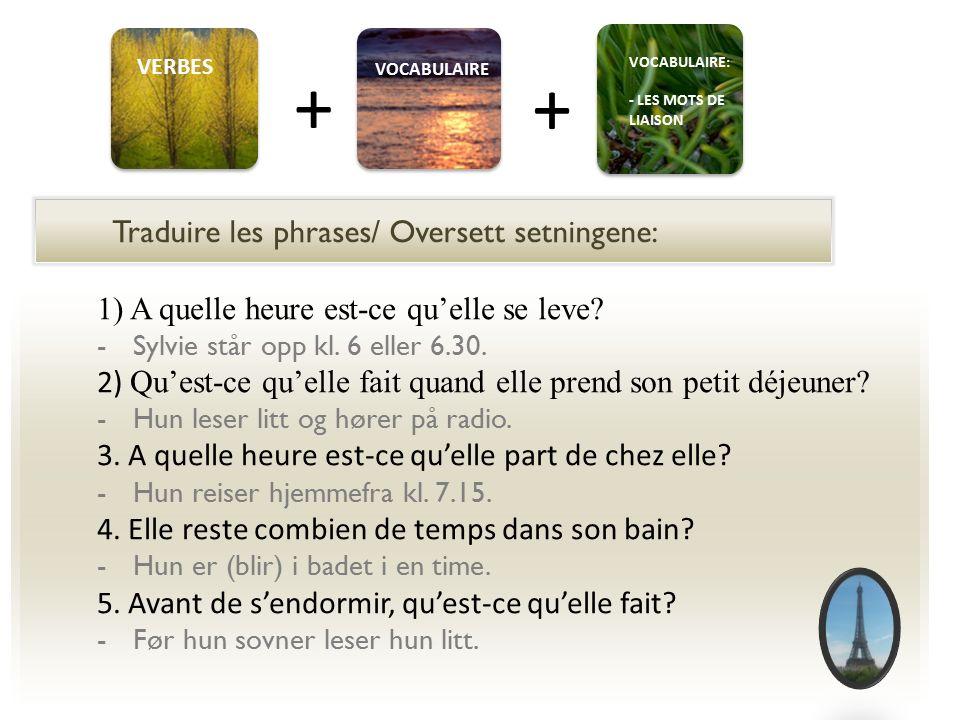 + + Traduire les phrases/ Oversett setningene: