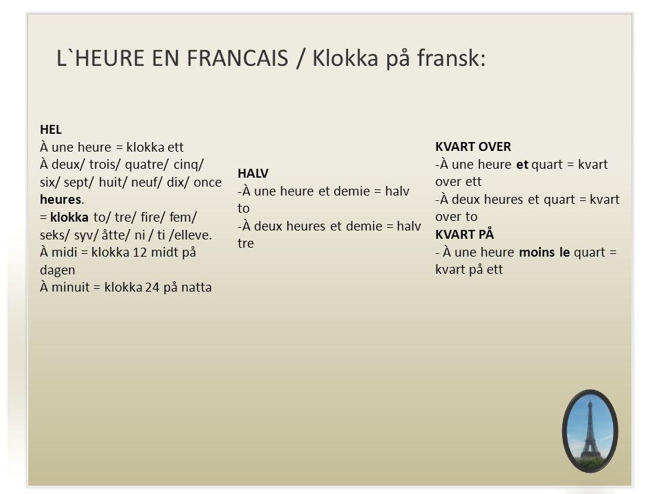 L`HEURE EN FRANCAIS / Klokka på fransk: