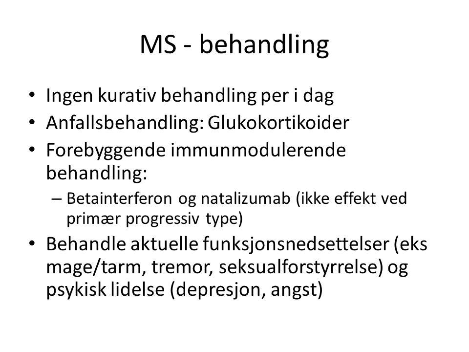 MS - behandling Ingen kurativ behandling per i dag