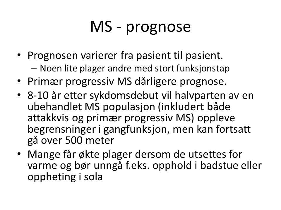 MS - prognose Prognosen varierer fra pasient til pasient.