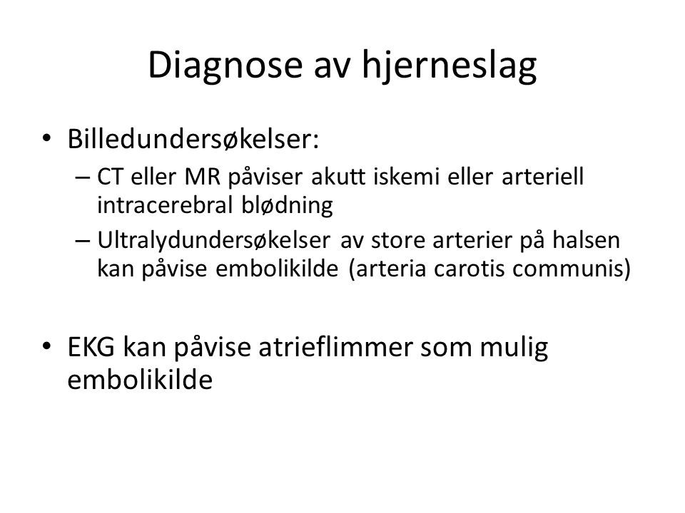 Diagnose av hjerneslag
