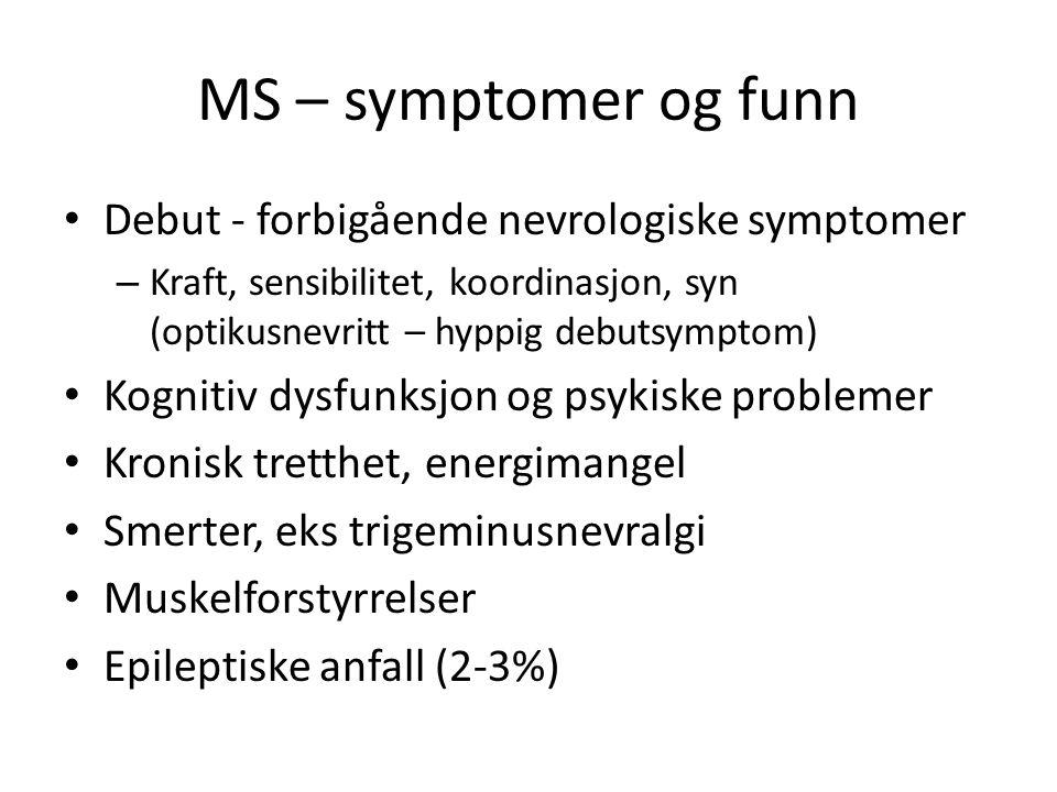 MS – symptomer og funn Debut - forbigående nevrologiske symptomer