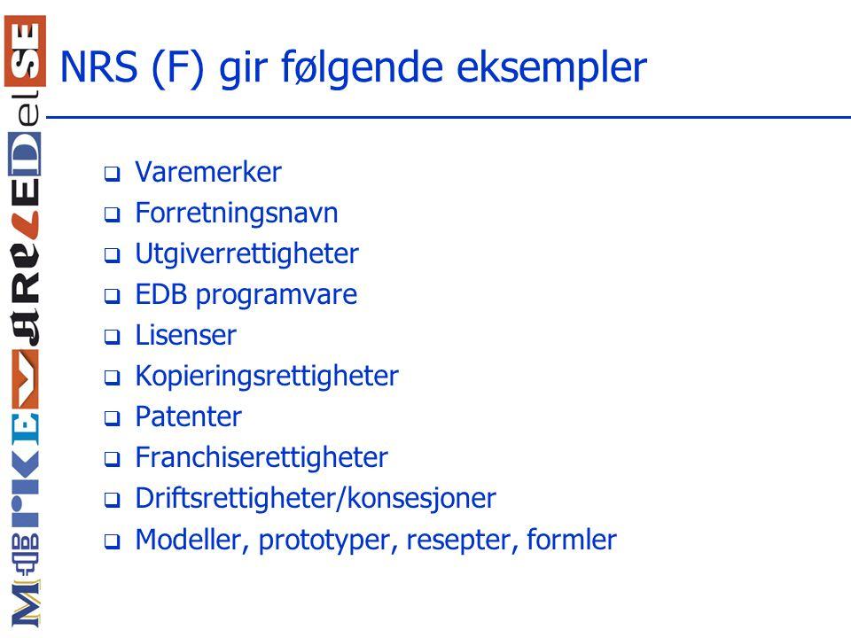 NRS (F) gir følgende eksempler