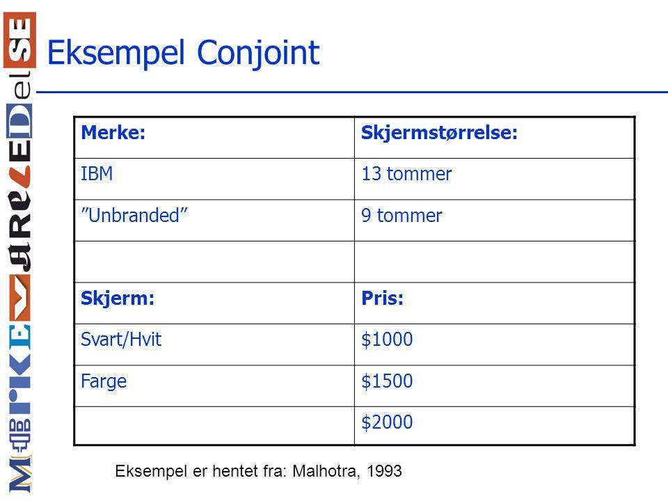 Eksempel Conjoint Merke: Skjermstørrelse: IBM 13 tommer Unbranded