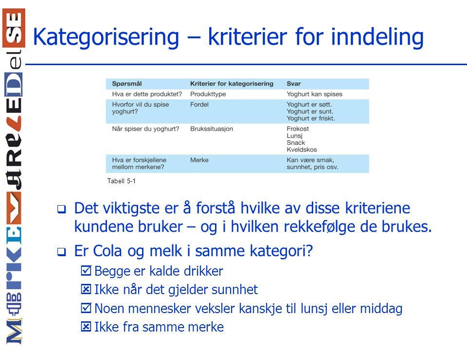 Kategorisering – kriterier for inndeling