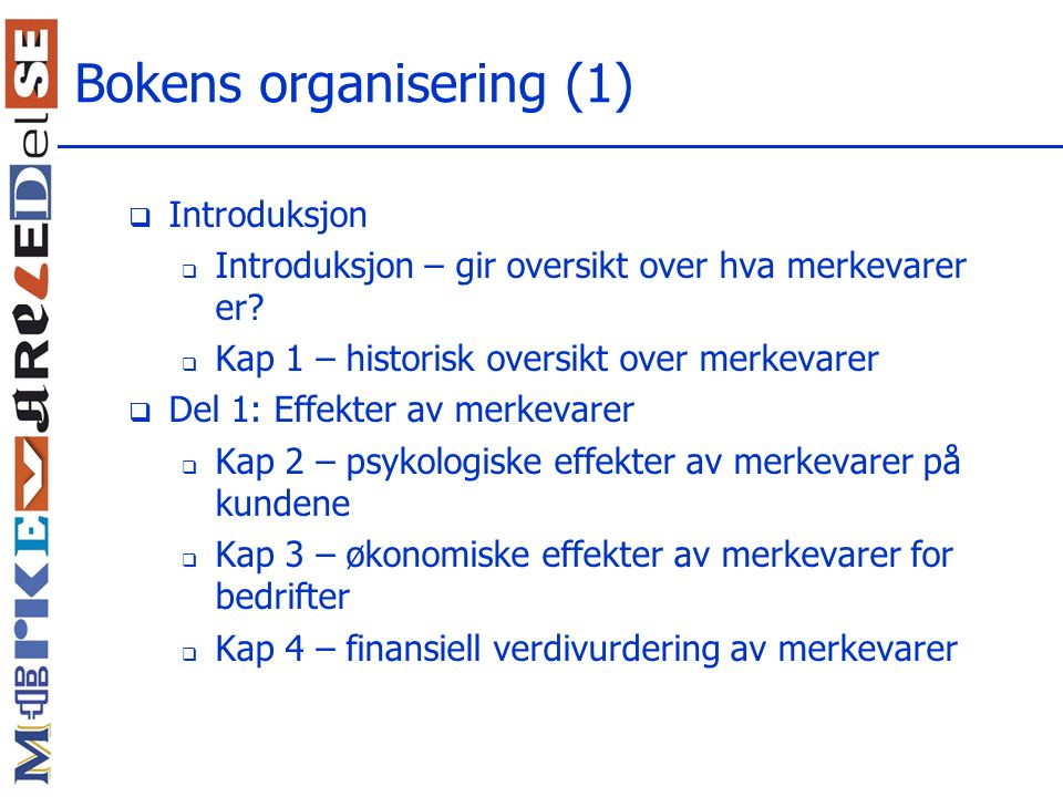 Bokens organisering (1)