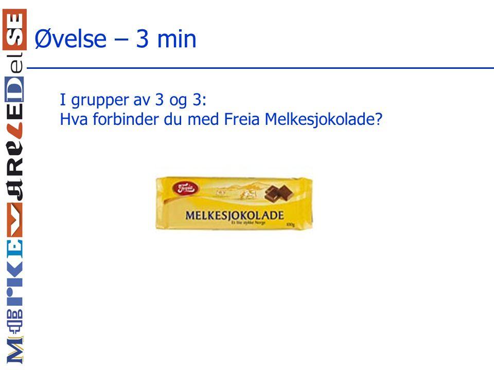 Øvelse – 3 min I grupper av 3 og 3: Hva forbinder du med Freia Melkesjokolade