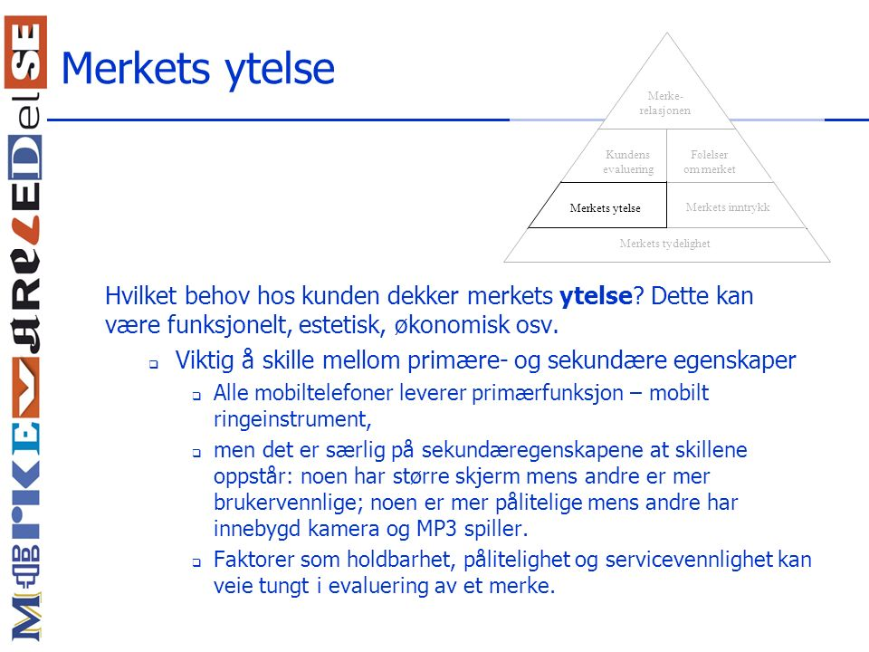 Merkets ytelse Merkets tydelighet. Merkets inntrykk. Merkets ytelse. Kundens evaluering. Følelser om merket.