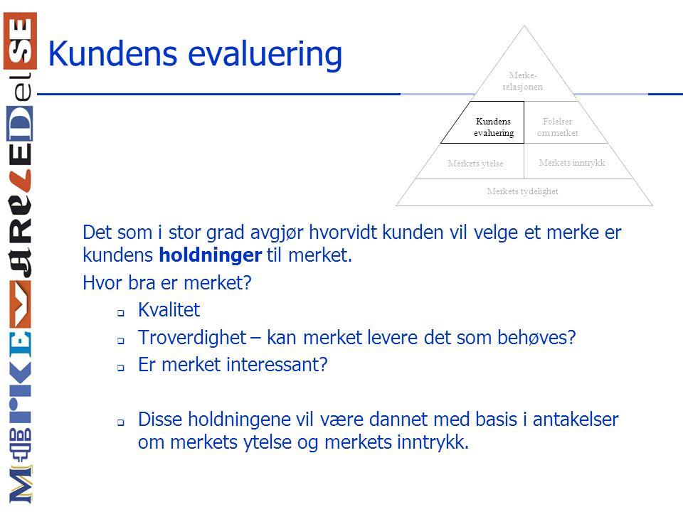 Kundens evaluering Merkets tydelighet. Merkets inntrykk. Merkets ytelse. Kundens evaluering. Følelser om merket.