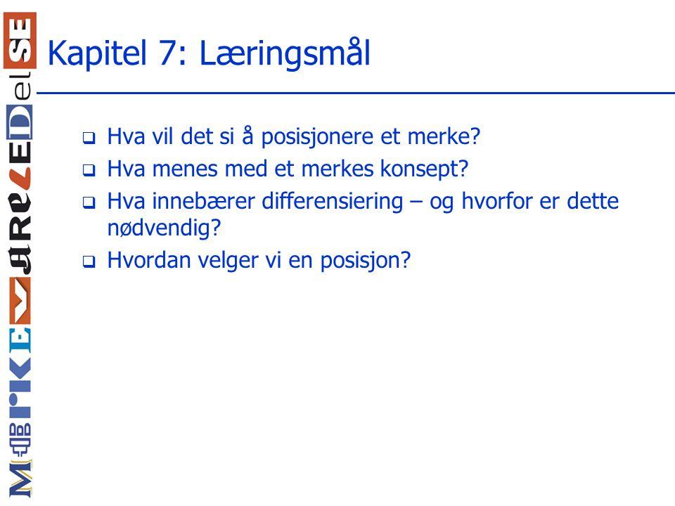 Kapitel 7: Læringsmål Hva vil det si å posisjonere et merke