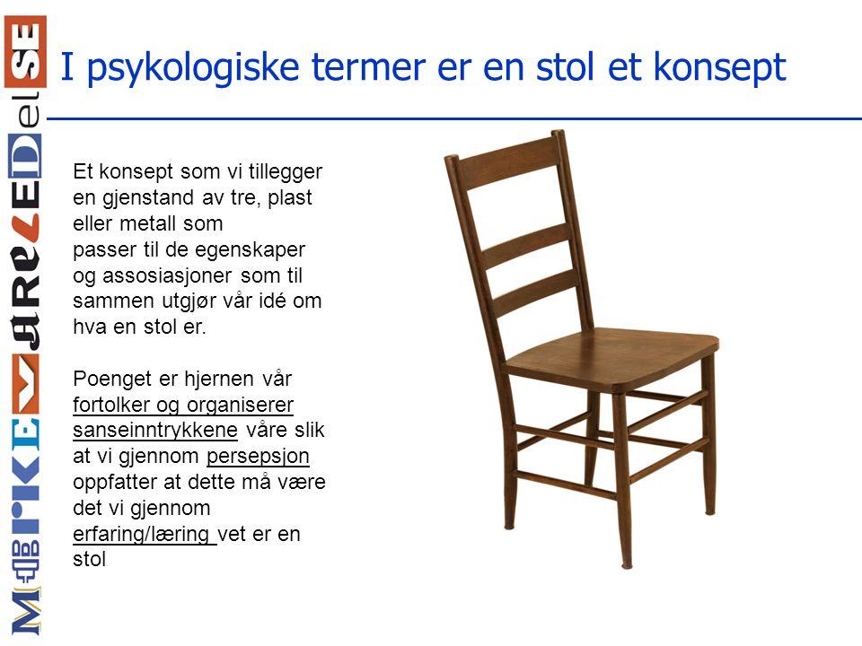 I psykologiske termer er en stol et konsept