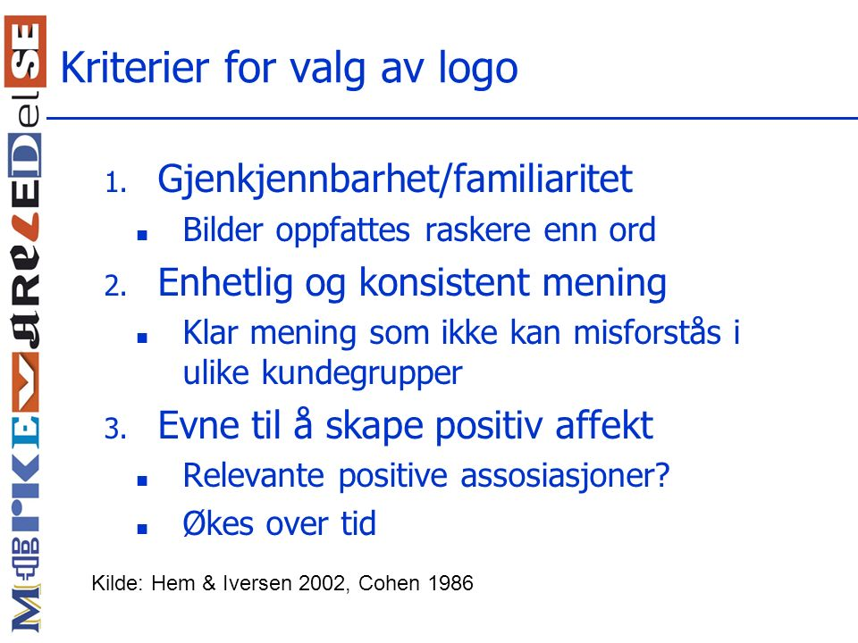 Kriterier for valg av logo