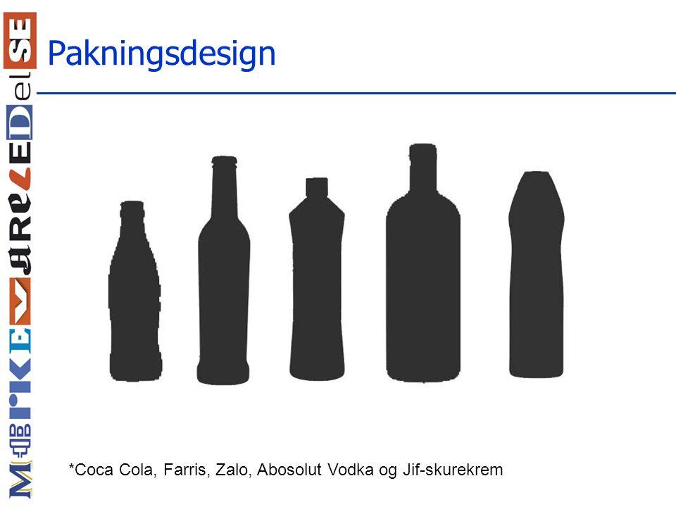 Pakningsdesign *Coca Cola, Farris, Zalo, Abosolut Vodka og Jif-skurekrem