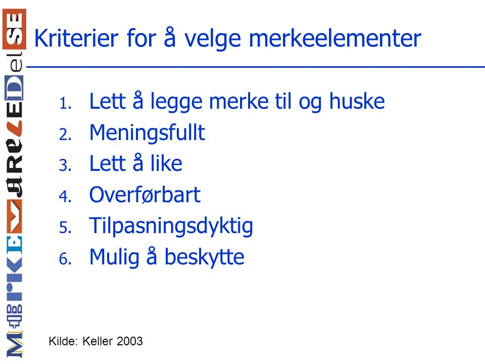 Kriterier for å velge merkeelementer