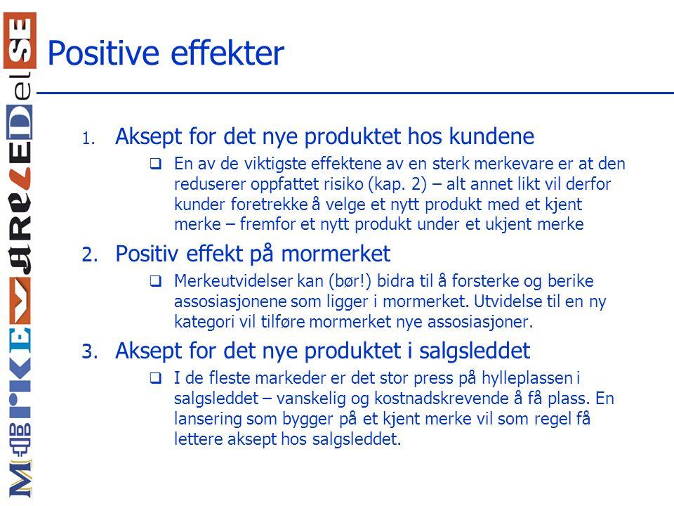 Positive effekter Aksept for det nye produktet hos kundene